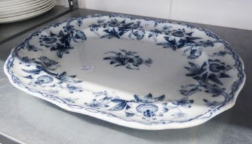A VICTORIAN MINTON AND CO., BB NEW STONE EARTHENWARE MEAT DISH, TRANSFER PRINTED IN 'PASSION FLOWER'
