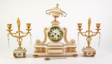 LATE NINETEENTH CENTURY FRENCH GILT METAL MOUNTED WHITE ALABASTER MATCHED THREE PIECE CLOCK