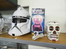 A 'STAR WARS' STORM TROOPER HELMET, WITH VOICE, A PLASMA FLASH LIGHT BOXED, AND AN ELECTRICAL