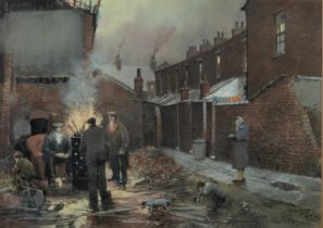 TOM BROWN (1933-2017) PASTEL Back alley scene with figures around a fire Signed 15? x 21? (38cm x