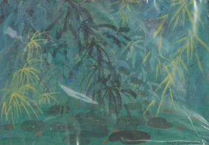 MARGARET GUMUCHIAN (1928 - 1999) GOUACHE Conservatory Pond, plants and pond with goldfish Signed