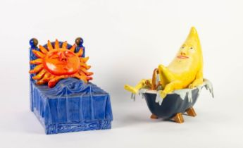 HOWARD GORST (b.1955) PAIR OF PAINTED CERAMIC MODELS OF THE SUN AND MOON The sun modelled asleep