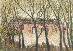 MARGARET GUMUCHIAN (1928 - 1999) GOUACHE Victoria Farm Cottages, Marple Signed lower left 9 1/2in