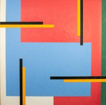 CHRISTOPHER CORAM (b. 1948) OIL PAINTING ON BOARD Rectilinear abstract Signed and dated (20)18 lower