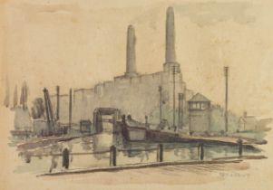 IAN GRANT (1904 - 1993) WATERCOLOUR DRAWING ON GREY PAPER Barton Power Station Signed lower right
