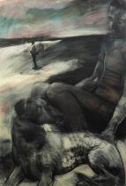 KATE DAVIES (1987 - 2021) MIXED MEDIA ON PAPER Figure with dog Unsigned 43? x 29 ½? (109.2cm x 74.