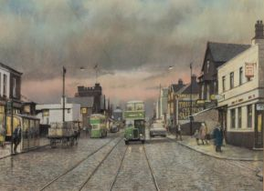 T. BROWN PASTEL DRAWING Cross Lane, Salford, busy with traffic and figures at dusk Signed lower