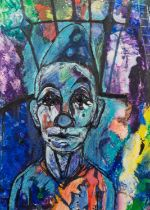 JOSE CHRISTOPHERSON (1914 - 2014) MIXED MEDIA ON PAPER A circus clown Signed lower right 20 3/4in
