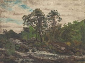 IAN GRANT (1904 - 1993) OIL PAINTING ON CANVAS Upland landscape with trees and waterfall in the