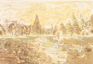 MARGARET GUMUCHIAN (1928 - 1999) COLOURED LITHOGRAPH The Kirk, Carrbridge, Inverness Signed and