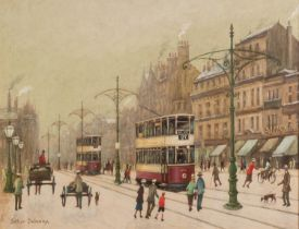 ARTHUR DELANEY (1927 - 1987) OIL PAINTING ON BOARD Piccadilly, Manchester, busy with trams, carts