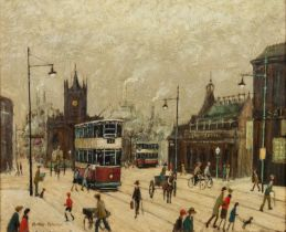 ARTHUR DELANEY (1927 - 1987) OIL PAINTING ON BOARD Deansgate with Manchester Cathedral in the