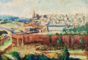 THERESA DAN (1913-1976) OIL ON CANVAS View of Jerusalem Signed and dated 1959 17 ¾? x 25 ¼? (45cm