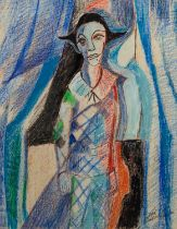 JOSE CHRISTOPHERSON (1914 - 2014) MIXED MEDIA ON PAPER Study of Harlequin type figure Signed lower