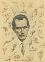 ENOCH FAIRHURST (1874-1945) PENCIL DRAWING Portrait of Sir Malcolm Sargent with surround of 33