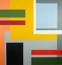 CHRISTOPHER CORAM (b. 1948) OIL PAINTING ON BOARD Rectilinear abstract Signed and dated (20)19 lower