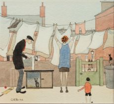 GEOFFREY WOOLSEY BIRKS (1929 - 1993) WATERCOLOUR DRAWING AND PENCIL Washing Stops Play Signed