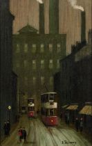 ARTHUR DELANEY (1927 - 1987) OIL PAINTING ON BOARD Northern industrial street with factory chimneys,