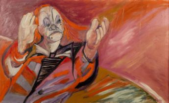 JOSE CHRISTOPHERSON (1914 - 2014) OIL PAINTING ON CANVAS A clown clapping Signed lower right 26in