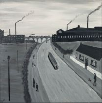 VINCENT DOTT (MODERN) MONOCHROME ACRYLIC ON BOARD ?Canal with Barge? Signed titled verso 17 ½? x