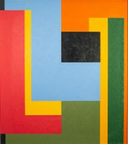 CHRISTOPHER CORAM (b. 1948) OIL PAINTING ON BOARD Rectilinear abstract Signed and dated (20)19 top