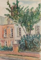 IAN GRANT (1904 - 1993) WATERCOLOUR DRAWING Cathedral Close, Gloucester Signed lower right and