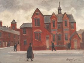 ROGER HAMPSON (1925 - 1996) OIL PAINTING ON BOARD 'Jubilee Schools, Bolton' Signed, titled and