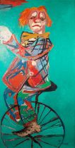 JOSE CHRISTOPHERSON (1914- 2014) OIL PAINTING ON CANVAS A clown riding a monocycle Signed lower