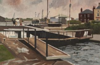ROGER HAMPSON (1925 - 1996) OIL PAINTING ON BOARD 'Glasson Dock' Signed lower right, titled and