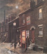TOM BROWN ARTIST SIGNED LIMITED EDITION COLOUR PRINT Terraced houses, Salford and corner shop with