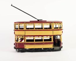 HOWARD GORST (b.1955) DETAILED AND PAINTED CERAMIC MODEL OF A BYGONE TRAM ?Hollinwood to Werneth?,