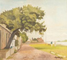 ROGER HAMPSON (1925 - 1996) OIL PAINTING ON CANVAS The Cotton Tree, Sunderland Point Signed lower