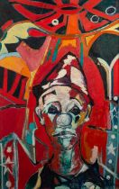JOSE CHRISTOPHERSON (1914 - 2014) OIL PAINTING ON CANVAS A clown against circus backdrop Signed