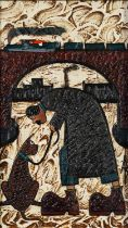 ALBERT BARLOW (b.1944) ACRYLIC ON BOARD ?Behave? Monogrammed, titled verso 9 ½? x 5 ½? (24.1cm x