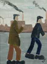 VINCENT DOTT (TWENTIETH/ TWENTY FIRST CENTURY) OIL ON BOARD ?The Workers No 10? Signed, titled to