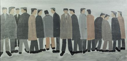 VINCENT DOTT (TWENTIETH/ TWENTY FIRST CENTURY) OIL ON BOARD ?The Workers No 11? Signed, titled to