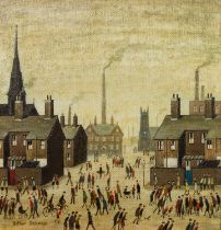 ARTHUR DELANEY (1927 - 1987) OIL PAINTING ON BOARD Industrial Scene with Churches and Chimneys,