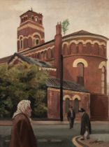 ROGER HAMPSON (1925 - 1996) OIL PAINTING ON CANVAS 'Derelict Church, Ancoats' Signed lower right and