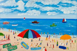 VINCENT DOTT (MODERN) ACRYLIC ON BOARD ?Perfect Beach Day? Signed, titled verso 15 ½? x 23 ½? (39.