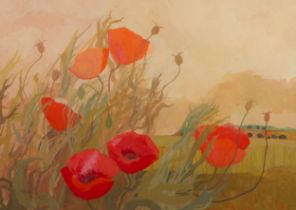 IRENE HALLIDAY (b.1931) GOUACHE DRAWING ?Poppy Crop? Signed, titled and dated 1974 to artist label