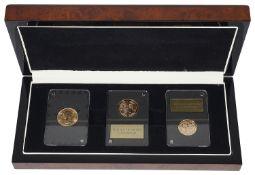 Queen Elizabeth II Platinum Wedding Anniversary three gold coin set