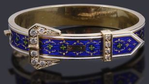 A 14ct gold enamel and diamond hinge buckle bangle,