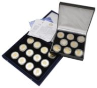 The Royal Mint - A set of sixteen .925 silver plated in 24 carat gold