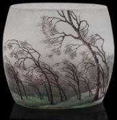 An Art Nouveau Daum Nancy 'Rain Landscape' pillow vase