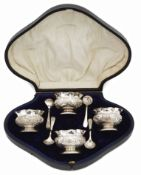 A late Victorian cased set of four silver salts