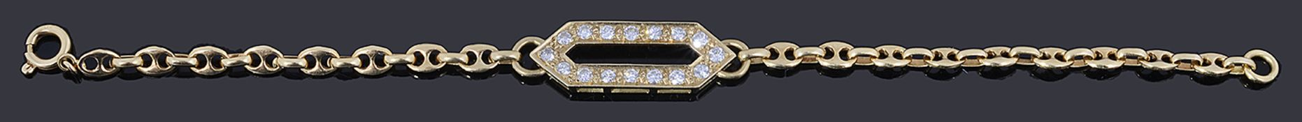 A gold diamond set bracelet,
