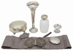 Collection of early 20th c. silver to include a Maltese silver nurses buckle and jewellery box
