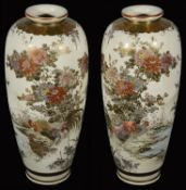 A pair of Japanese Meiji period Satsuma pottery vases