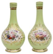 A pair of early 19th century porcelain bottle vases and stoppers c.1840