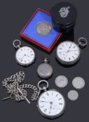 A collection of silver watches